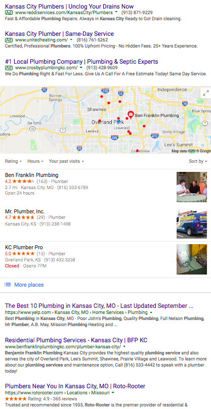 Kansas City Plumber search results on Google
